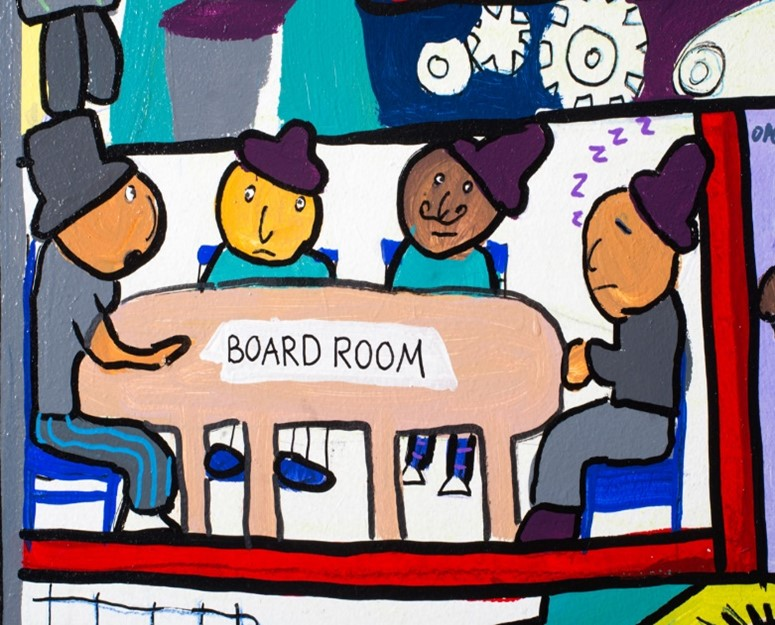 Drawing of four men with top hats on sat around a table which is labelled 'BOARDROOM'. One of the men sat on the table is sleeping with 'ZZZZZ's' coming out of him.