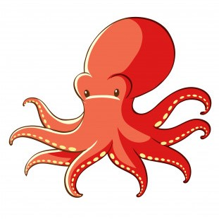 Imagine of a cartoon red octopus