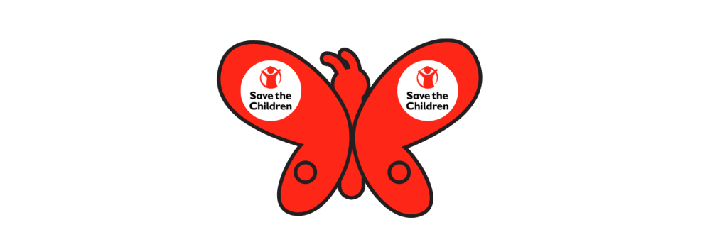 A red buttery with the Save the Children logo on its wings